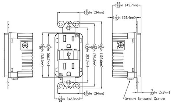 4 8a usb charger  15a duplex tamper